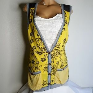 Scrapbook yellow & Gray button front Cardigan S/M